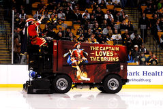 Captain Morgan takes a ride on a Zamboni Royalty Free Stock Image
