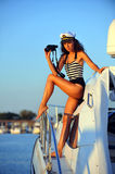 Captain of motorboat at cruise. Stock Photos