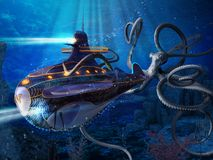 Captain Nemo Nautilus Submarine Attack. A giant squid attacks the Nautilus of captain Nemo, a scene from Jules Verne's novel 20000 Leagues Under the Sea. 3d stock illustration