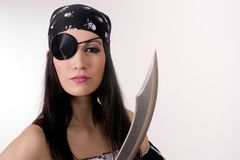 Captain One Eye Female Pirate Knife Blade Patch Royalty Free Stock Photography