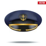 Captain peaked cap with gold anchor on cockade Stock Images