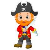 Captain pirate holding a sword. Cartoon captain pirate holding a sword Royalty Free Stock Photos