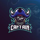 Captain pirates mascot logo design vector with modern illustration concept style for badge, emblem and t shirt printing. pirates. Illustration with a sword stock illustration