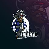 Captain pirates mascot logo design vector with modern illustration concept style for badge, emblem and t shirt printing. smiling. Pirates captain illustration stock illustration
