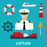 Captain profession and nautical flat icons Royalty Free Stock Image