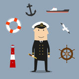 Captain profession and nautical icons Stock Image