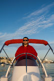 Captain on a rubber boat Royalty Free Stock Images