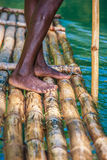 Captain's On Bamboo Boat Royalty Free Stock Photos