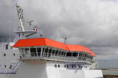 Captain's bridge. On a ship in La Manche channel Royalty Free Stock Photo