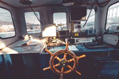 Captain`s bridge, Captain`s cabin view from the inside. Captain`s bridge view from the inside Journey Holiday Navigation Transportation Concept Royalty Free Stock Image