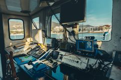 Captain`s Cabin View From The Inside, Point Of View Shot. Captain`s bridge view from the inside. Journey Travel Transportation Concept Royalty Free Stock Images