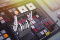 Captain`s hand on ship throttle. Royalty Free Stock Images