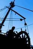 Captain's Silhouette. Marine Silhouette. A Man Aboard A Boat Royalty Free Stock Photography