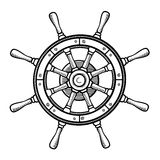Captain's wheel in black and white Royalty Free Stock Photography