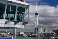 Captain Sailing into Portsmouth Stock Images