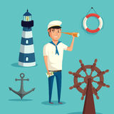 Captain or sailor with spyglass and lighthouse, anchor and wooden steering wheel of ship or boat, lifebuoy or ring buoy Stock Image