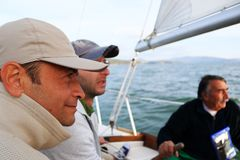 Sailing boat team Stock Images