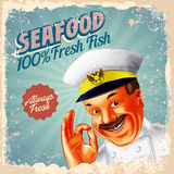 Captain seafood always fresh Stock Photography