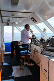 The captain in ship,cruise port stephens,australia Stock Images