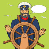 Captain and ship steering wheel pop art vector Stock Images