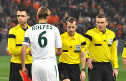 Captain Simon Rolfes and referees Stock Images