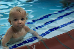 Captain of the Swim Team. Two year old toddler boy having a swim. Good clarity, saturation, hue; good file Stock Images