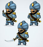Captain in a turban. In the three positions. vector illustration