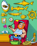 Captain on vacation. The illustration shows funny sea captain resting in his room, where the walls are covered with trophies Stock Photography