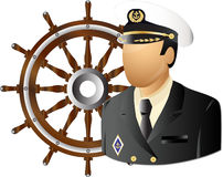 Captain with wheel. Captain of a transport or navy ship with wheel Stock Image