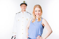 The captain and the woman Stock Photography