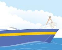 Captain on yacht. Captain on the bow of the yacht Stock Photo