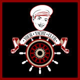 Captain yacht label. In  retro style Stock Image