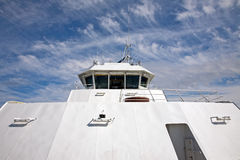 Captains bridge front view. Captains deck on a ferry carrying passengers and cars Royalty Free Stock Photography