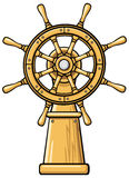 Captains wheel cartoon illustration Royalty Free Stock Image