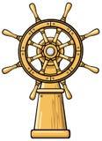 Captains wheel cartoon illustration Royalty Free Stock Image