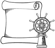 Captains wheel and paper scroll Stock Photos