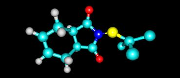 Captan molecular structure isolated on black background. Captan is a general use pesticide that belongs to the phthalimide class of fungicides. 3d illustration Royalty Free Stock Photo