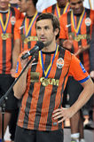 Captan of Shakhtar make a speach Stock Photo