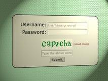 Captcha säkerhet Arkivfoto