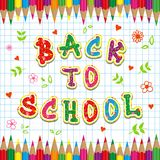 Caption Back to school and colored pencils Stock Image