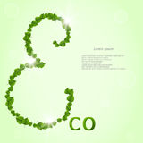 Caption ECO, where the letter E made leaves. On the light green background. Royalty Free Stock Images