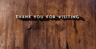 Caption of gratitude. Thank you for visiting caption on a rusty board stock photos