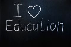 Caption: i love education royalty free stock photo