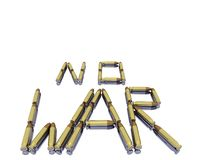 Caption no war from 3D bullets. Isolated on white background Royalty Free Stock Photos