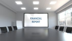 FINANCIAL REPORT caption on the screen in a meeting room. 3D rendering. Caption on the screen in a meeting room Royalty Free Stock Photography