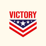 Caption Victory with the stars and chevron. Vector illustration Stock Image
