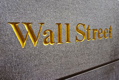 Caption Wall Street in Lower Manhattan Royalty Free Stock Image