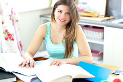 Captivating brunette student doing her homework Royalty Free Stock Image