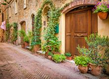 Pienza in Tuscany. Captivating narrow street of old Pienza town in Tuscany Stock Photos