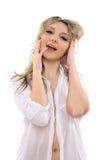 Captivating youthful blond girl royalty free stock photos